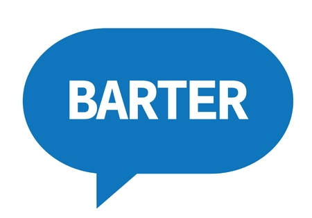 BARTER text in blue speech bubble simple sign with rounded corners. Stock Photo