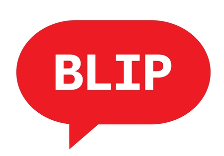 BLIP text in red speech bubble simple sign with rounded corners. Stock Photo