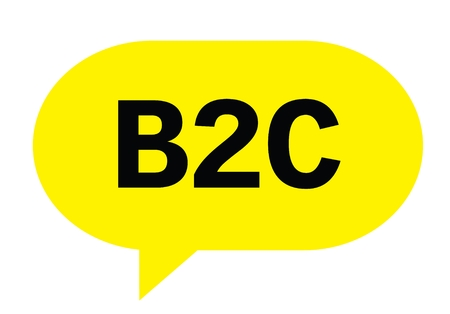 B2C text in yellow speech bubble simple sign with rounded corners. Stock Photo