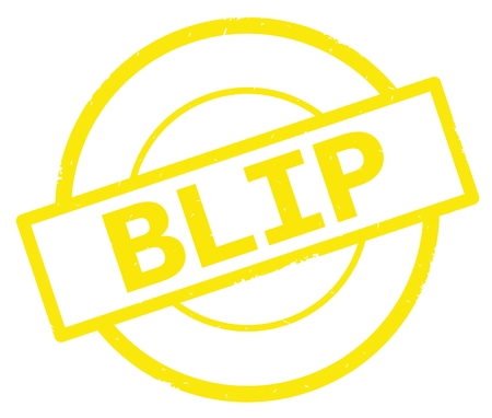 BLIP text, written on yellow simple circle rubber vintage stamp. Stock Photo