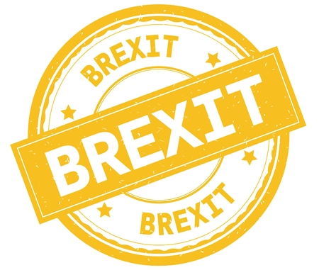 BREXIT , written text on yellow round rubber vintage textured stamp. Stock Photo