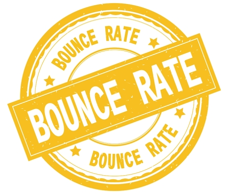 BOUNCE RATE , written text on yellow round rubber vintage textured stamp. Stock Photo
