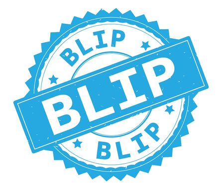 BLIP blue text round stamp, with zig zag border and vintage texture.