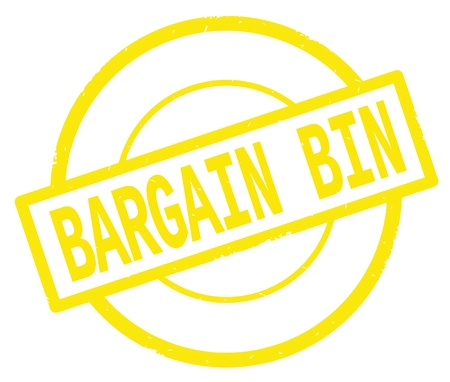 BARGAIN BIN text, written on yellow simple circle rubber vintage stamp.