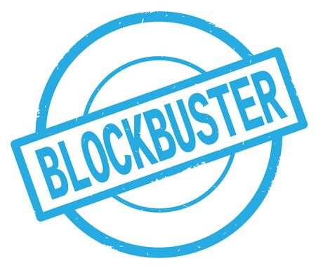 BLOCKBUSTER text, written on cyan simple circle rubber vintage stamp.