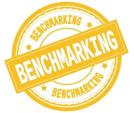 BENCHMARKING , written text on yellow round rubber vintage textured stamp.