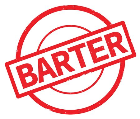 BARTER text, written on red simple circle rubber vintage stamp.