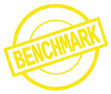 BENCHMARK text, written on yellow simple circle rubber vintage stamp.