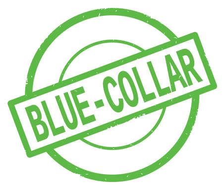 BLUE COLLAR text, written on green simple circle rubber vintage stamp.