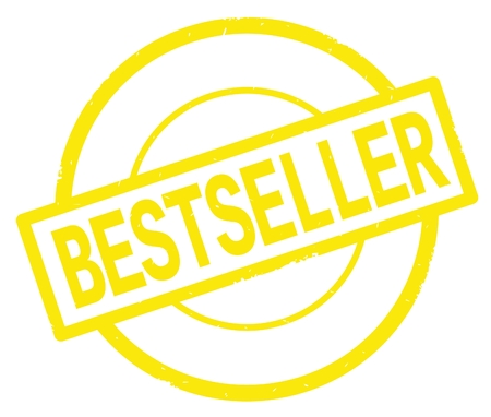 BESTSELLER text, written on yellow simple circle rubber vintage stamp.