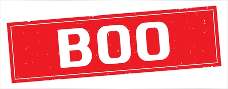 BOO text, on full red rectangle vintage textured stamp sign.