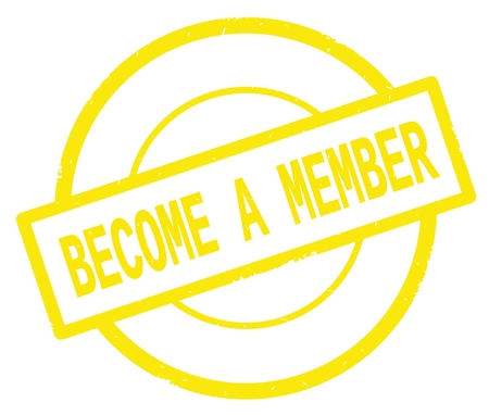 BECOME A MEMBER text, written on yellow simple circle rubber vintage stamp.