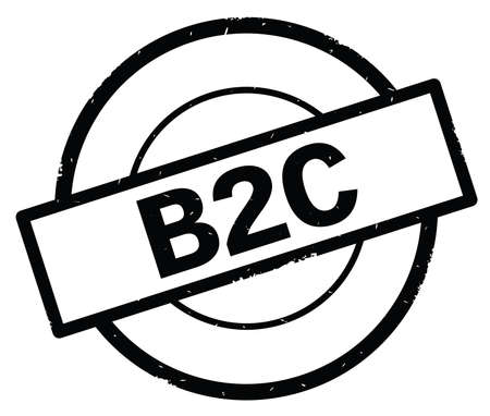 B2C text, written on black simple circle rubber vintage stamp. Stock Photo