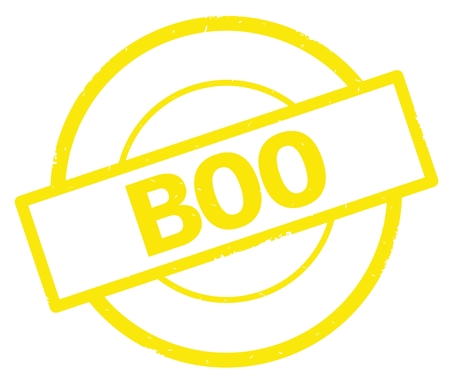 BOO text, written on yellow simple circle rubber vintage stamp.