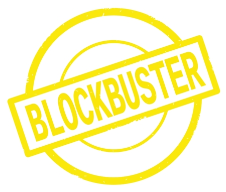 BLOCKBUSTER text, written on yellow simple circle rubber vintage stamp.