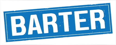 BARTER text, on full blue rectangle vintage textured stamp sign.