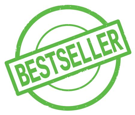 BESTSELLER text, written on green simple circle rubber vintage stamp.