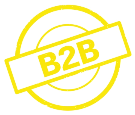 b2b: B2B text, written on yellow simple circle rubber vintage stamp.
