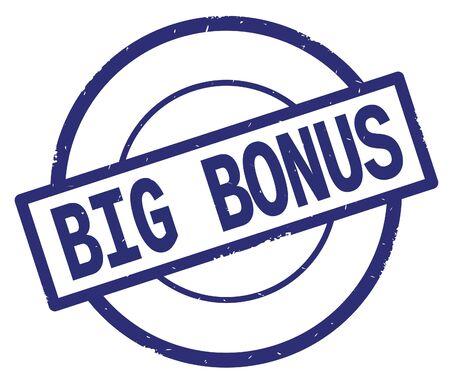 BIG BONUS text, written on blue simple circle rubber vintage stamp.