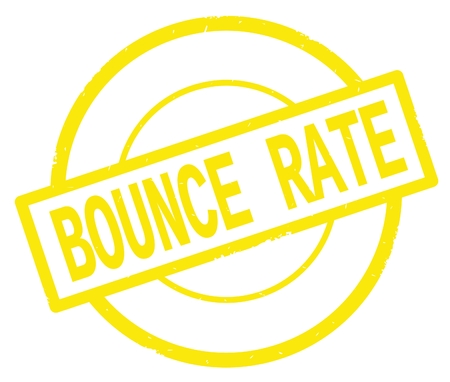 BOUNCE RATE text, written on yellow simple circle rubber vintage stamp.
