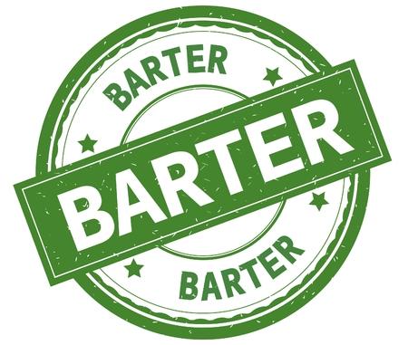BARTER , written text on green round rubber vintage textured stamp.