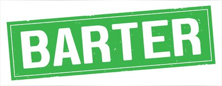 BARTER text, on full green rectangle vintage textured stamp sign.