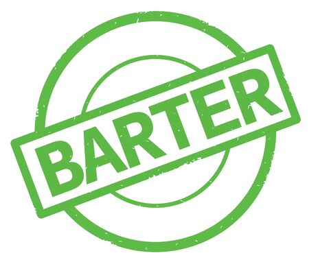 BARTER text, written on green simple circle rubber vintage stamp.
