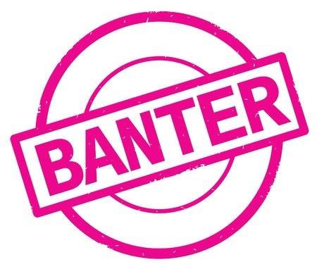 BANTER text, written on pink simple circle rubber vintage stamp. Reklamní fotografie