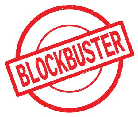 BLOCKBUSTER text, written on red simple circle rubber vintage stamp. Stock Photo