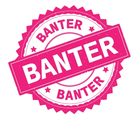 BANTER pink text round stamp, with zig zag border and vintage texture. Reklamní fotografie
