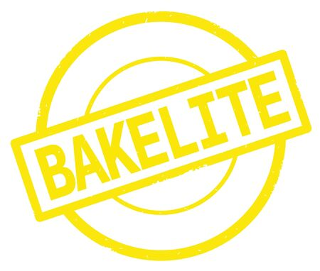 BAKELITE text, written on yellow simple circle rubber vintage stamp.