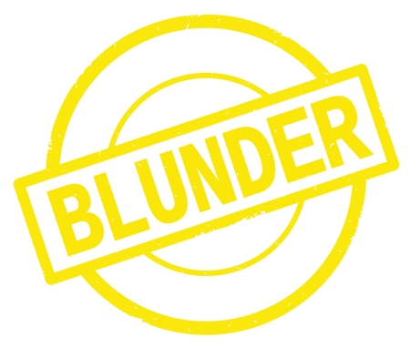 BLUNDER text, written on yellow simple circle rubber vintage stamp.