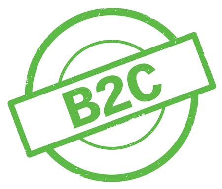B2C text, written on green simple circle rubber vintage stamp.