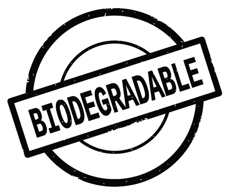 BIODEGRADABLE text, written on black simple circle rubber vintage stamp.