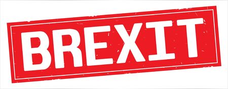 BREXIT text, on full red rectangle vintage textured stamp sign.