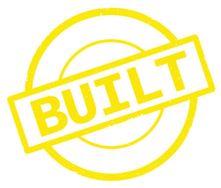 BUILT text, written on yellow simple circle rubber vintage stamp.