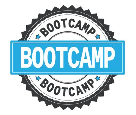 BOOTCAMP text on grey and cyan round stamp, with zig zag border and vintage texture.