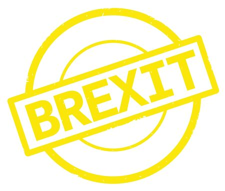 BREXIT text, written on yellow simple circle rubber vintage stamp.