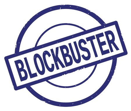 BLOCKBUSTER text, written on blue simple circle rubber vintage stamp. Stock Photo