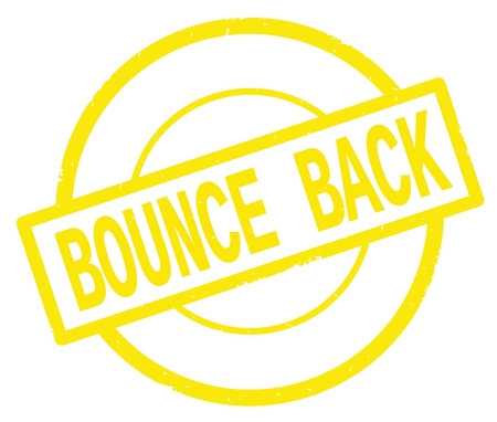 BOUNCE BACK text, written on yellow simple circle rubber vintage stamp. Stock Photo