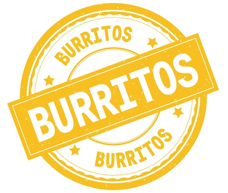 BURRITOS , written text on yellow round rubber vintage textured stamp. Stock Photo