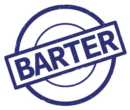 BARTER text, written on blue simple circle rubber vintage stamp.