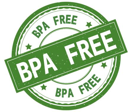 BPA FREE , written text on green round rubber vintage textured stamp.