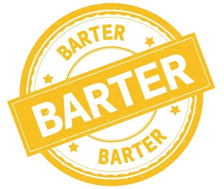 BARTER , written text on yellow round rubber vintage textured stamp.