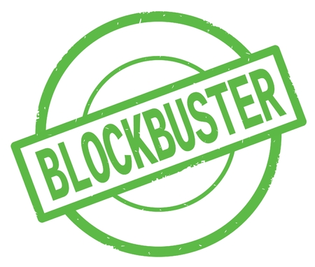 BLOCKBUSTER text, written on green simple circle rubber vintage stamp.