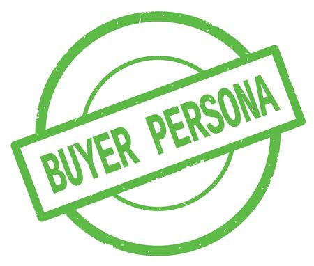 BUYER PERSONA text, written on green simple circle rubber vintage stamp.