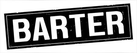 Testo di BARTER, sul segno di timbro con texture vintage rettangolo nero pieno. Archivio Fotografico - 89422623