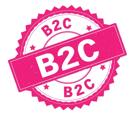 B2C pink text round stamp, with zig zag border and vintage texture.