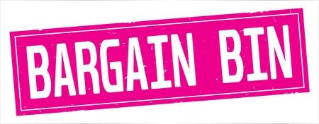 BARGAIN  BIN text, on full pink rectangle vintage textured stamp sign.