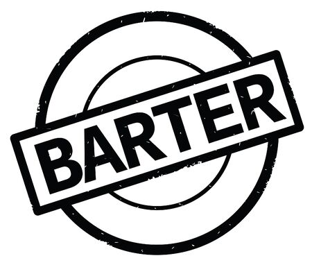 BARTER text, written on black simple circle rubber vintage stamp.